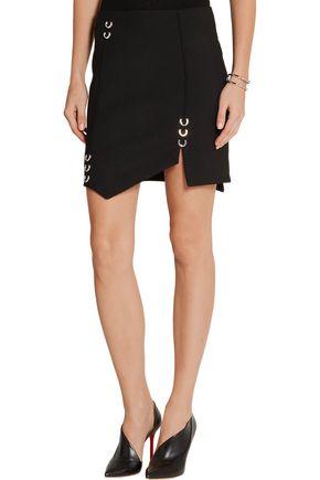 MUGLER Asymmetric embellished stretch-wool mini skirt