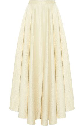THE ROW Lea fluted crinkled wool-blend maxi skirt