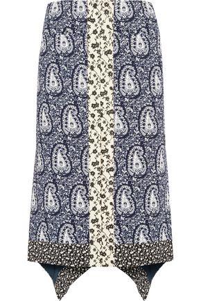 ALTUZARRA Cyrus silk jacquard-paneled printed crepe skirt