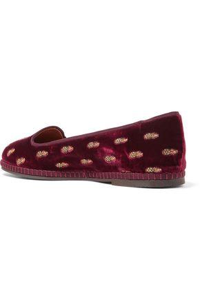 AQUAZZURA Ananas embroidered velvet slippers