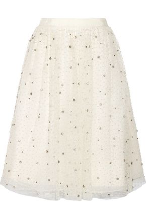 ALICE + OLIVIA Catrina embellished tulle and organza skirt