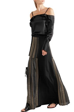 ZEUS + DIONE Pleated metallic-trimmed silk maxi skirt
