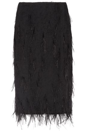 JASON WU Feather-embellished voile skirt