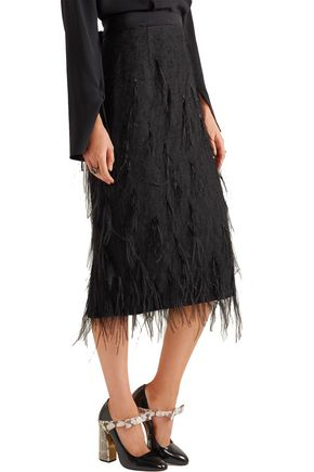 JASON WU Feather-embellished voile skirt