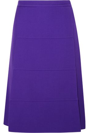 VICTORIA, VICTORIA BECKHAM Paneled wool-crepe skirt