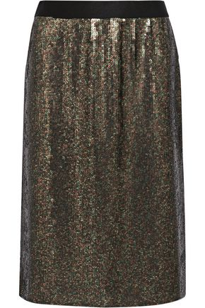 TIBI Sequined silk-chiffon skirt
