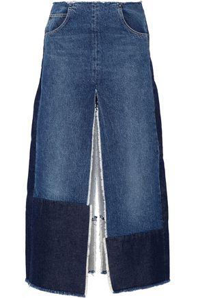 TOME Patchwork distressed denim maxi skirt