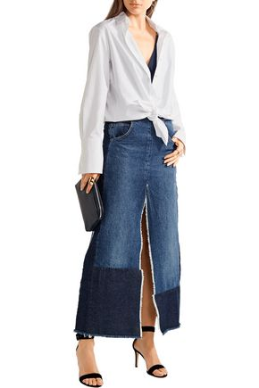 TOME Patchwork distressed denim maxi skirt
