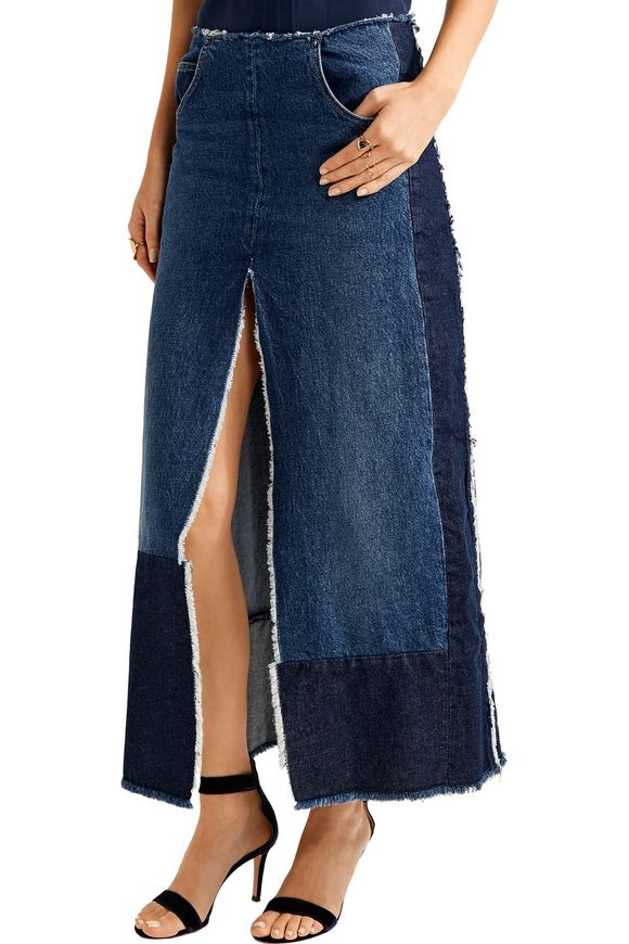 Patchwork distressed denim maxi skirt   TOME   Sale up to 70% off   THE  OUTNET