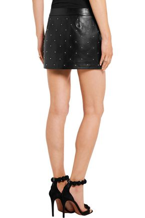 ANTHONY VACCARELLO Embellished two-tone leather mini skirt
