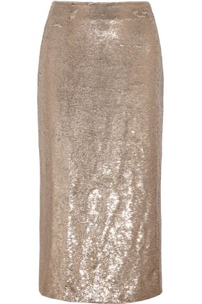 IRO Bump sequined twill midi skirt