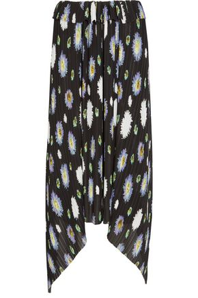 KENZO Floral-print plissé-georgette skirt