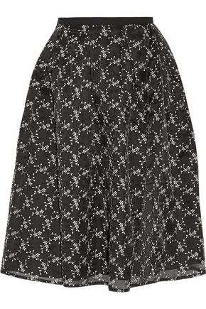 ERDEM Halyn embroidered silk-organza skirt