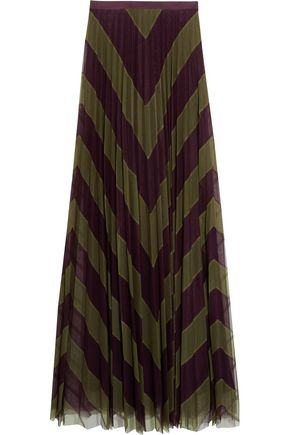 MARY KATRANTZOU Giselle two-tone pleated silk-tulle maxi skirt