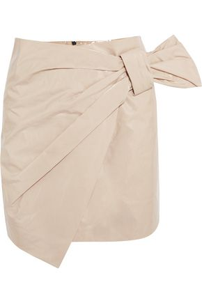 ISABEL MARANT Knotted patent-leather wrap mini skirt