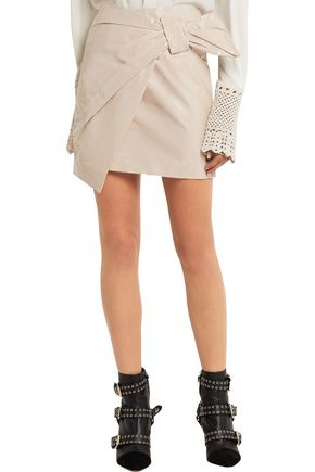 ISABEL MARANT Wrap-effect coated cotton-blend mini skirt
