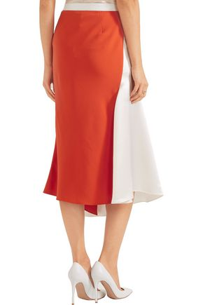 MUGLER Asymmetric two-tone crepe and satin skirt