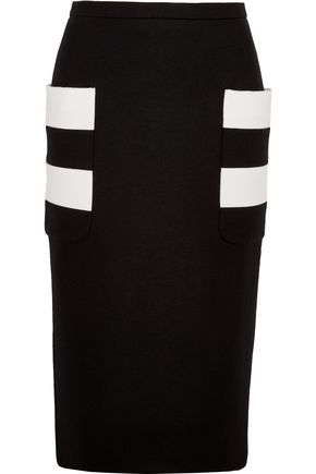 MAX MARA Striped stretch jersey-paneled wool-felt skirt