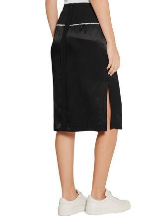 DKNY Wool twill-trimmed satin pencil skirt