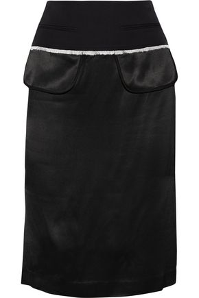 DKNY Wool twill-trimmed satin pencil skirt