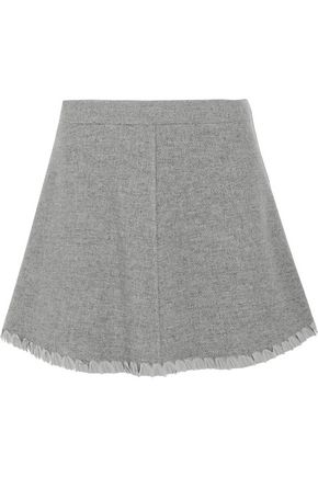 SEE BY CHLOÉ Crepe de chine-trimmed herringbone wool-blend mini skirt