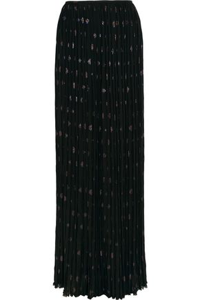 LANVIN Pleated silk-blend chiffon and fil coupé maxi skirt