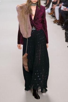 LANVIN Pleated silk-blend chiffon and fil coupé maxi skirt