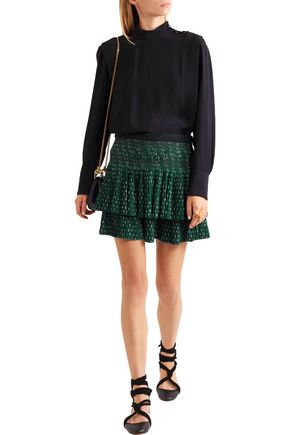 VANESSA BRUNO Flynn pleated embroidered crepe mini skirt