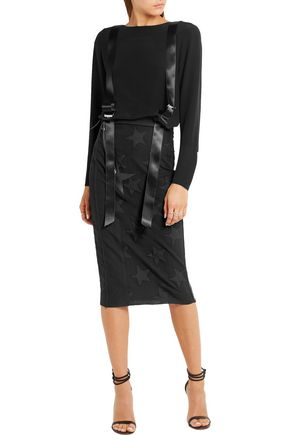 RONALD VAN DER KEMP Leather-trimmed denim and twill skirt