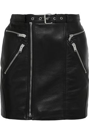 SAINT LAURENT Buckled textured-leather mini skirt