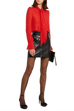 SAINT LAURENT Buckled textured-leather mini skirt