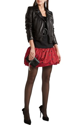 SAINT LAURENT Wool-crepe and polka-dot silk-faille mini skirt