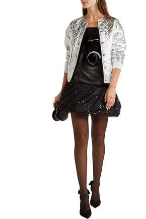 SAINT LAURENT Leather, taffeta and sequin-embellished tulle mini skirt