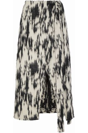 BEAUFILLE Sinope wrap-effect brushed-jacquard midi skirt
