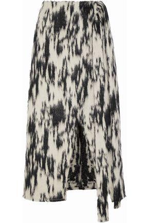 BEAUFILLE Sinope wrap-effect brushed-jacquard midi skirt