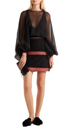 ZEUS + DIONE Zephyr embroidered suede mini skirt