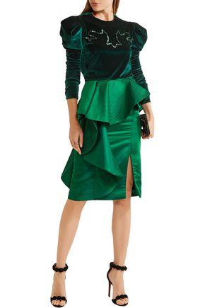 JOHANNA ORTIZ Esmeralda ruffled duchesse-satin skirt