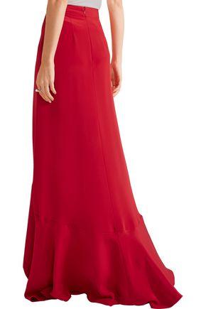 JUAN CARLOS OBANDO Mariposa asymmetric silk-satin maxi skirt