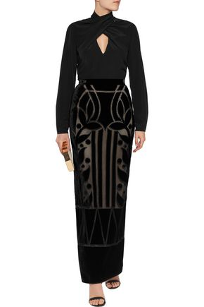TEMPERLEY LONDON Ashina velvet and mesh maxi skirt