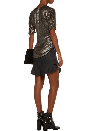 ISABEL MARANT Striped wool-blend mini skirt