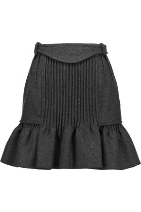 ISABEL MARANT Kern pintucked wool-blend mini skirt