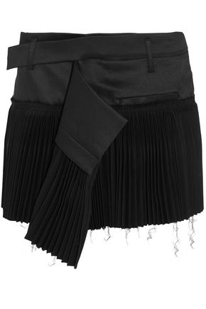 HAIDER ACKERMANN Pleated wool-blend and twill mini skirt