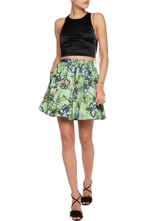 ALICE + OLIVIA Tania pleated printed stretch-cotton mini skirt