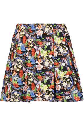 ALICE + OLIVIA Parson pleated printed crepe mini skirt