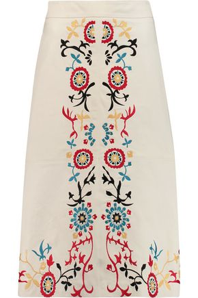 ALICE + OLIVIA Giselle embroidered leather skirt