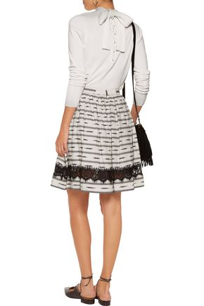 ALICE + OLIVIA Mazie lace-paneled cotton and linen-blend skirt
