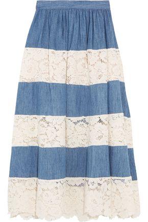 ALICE + OLIVIA Romy chambray and lace midi skirt