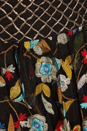 ALICE + OLIVIA Kamryn embroidered tulle maxi skirt