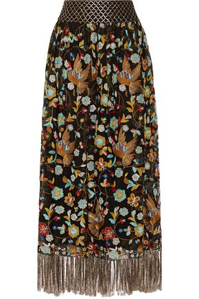 ALICE + OLIVIA Kamryn embroidered tulle maxi skirt