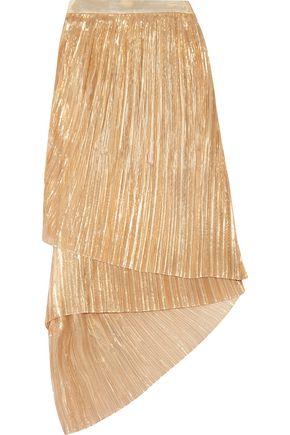 ADAM LIPPES Plissé silk-blend lamé midi skirt
